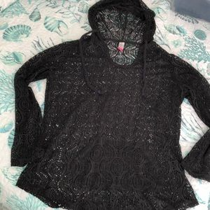 Women's lacy long sleeve coverup